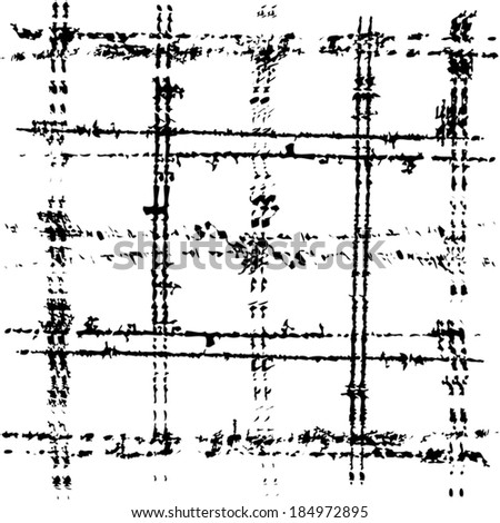 Scratched grid overlay texture. EPS10 vector. - stock vector