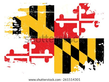 Scratched Maryland Flag. A flag of Maryland with a grunge texture - stock vector