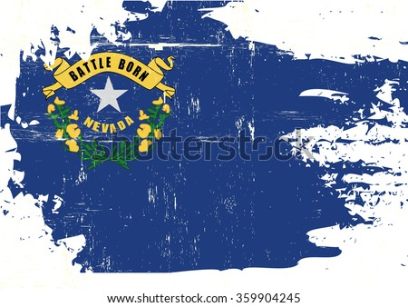 Scratched Nevada Flag. A flag of Nevada with a grunge texture - stock vector