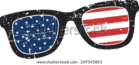 Scratched retro glasses with american flag - stock vector