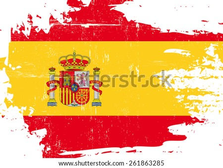 Scratched Spanish Flag. A flag of Spain with a grunge texture - stock vector