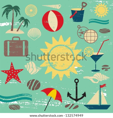 Scratched summer and sea related icons on blue textured background - stock vector