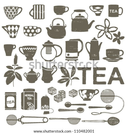 Scratched tea related silhouettes - stock vector