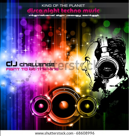 Screaming DJ Background for alternative disco flyers - stock vector