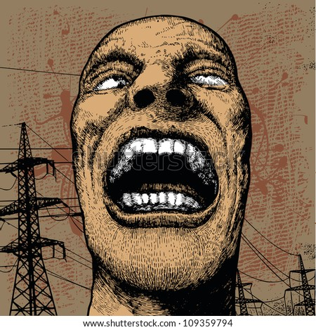 screaming head and high-voltage tower. grunge vector background