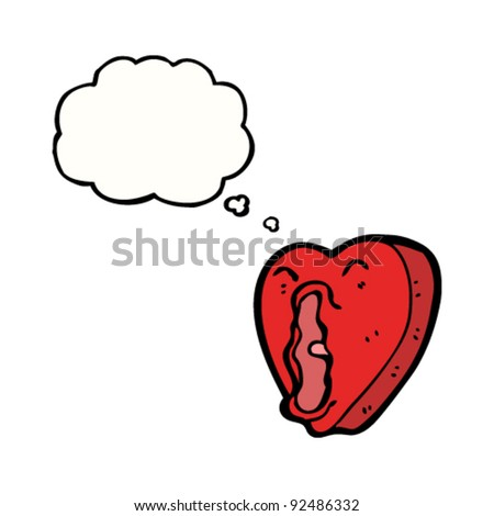 screaming love heart cartoon