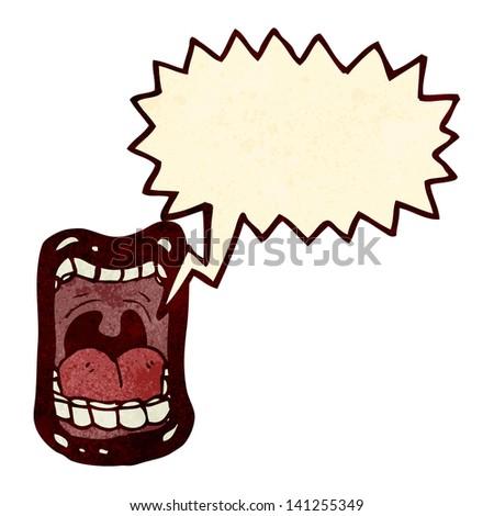 screaming mouth retro cartoon - stock vector