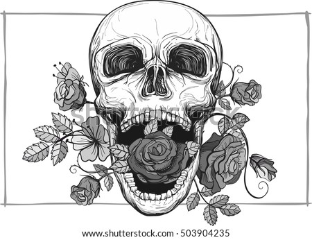 screaming skull with rose flowers, vector illustration