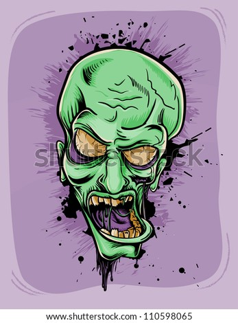 Screaming zombie. Halloween retro poster - stock vector