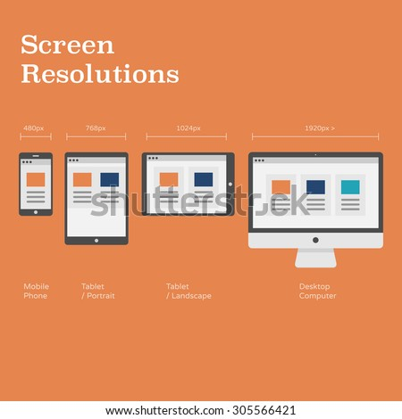 Screen Resolutions preview with pixel dimensions - website layout on different devices - flat design illustration - stock vector