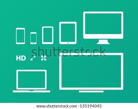 Screens on green background. Vector illustration. - stock vector