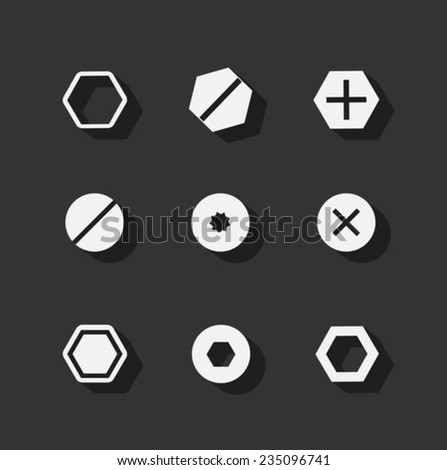 Screw bolt flat icons - stock vector