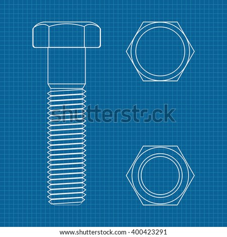 Cap hex socket bolt vector 3d vectores en stock 619693679 shutterstock vector illustration on blueprint background malvernweather Images