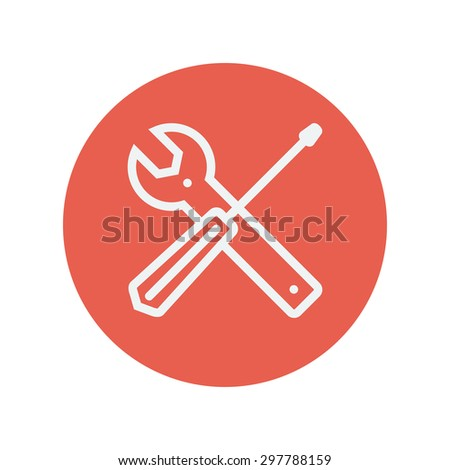 Screw driver and wrench tools thin line icon for web and mobile minimalistic flat design. Vector white icon inside the red circle. - stock vector