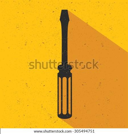 Screw driver flat design,yellow version,vector - stock vector
