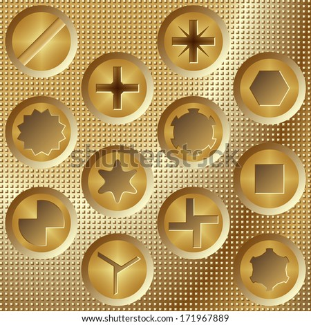 Screw heads set brown - stock vector