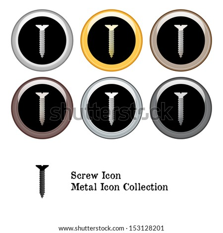 Screw Icon Metal Icon Set - stock vector
