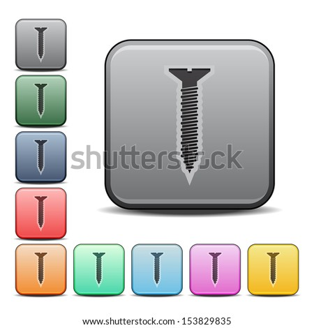 Screw Icon Square Icon Set in Various Colors - stock vector