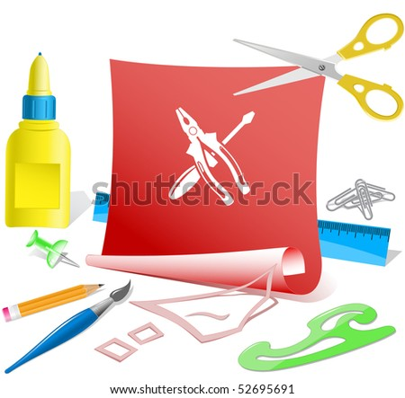 Screwdriver and combination pliers. Vector paper template.