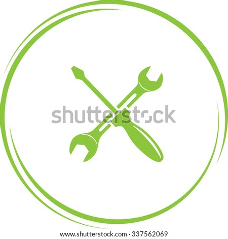 screwdriver and spanner. Internet button. Vector icon. - stock vector