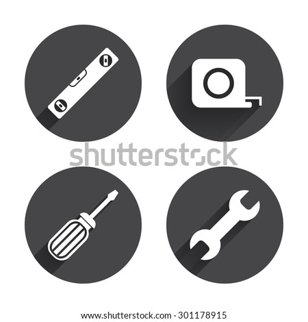 Screwdriver and wrench key tool icons. Bubble level and tape measure roulette sign symbols. Circles buttons with long flat shadow. Vector - stock vector