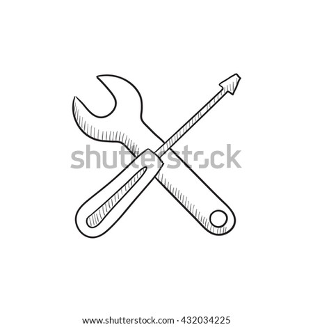 Screwdriver and wrench tools vector sketch icon isolated on background. Hand drawn Screwdriver and wrench tools icon. Screwdriver and wrench tools sketch icon for infographic, website or app. - stock vector