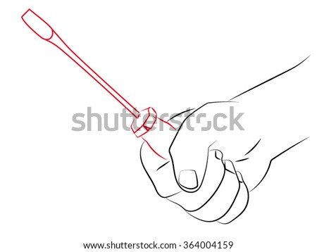 screwdriver in hand, hand holds a screwdriver. Vector illustration on the theme of working tools.