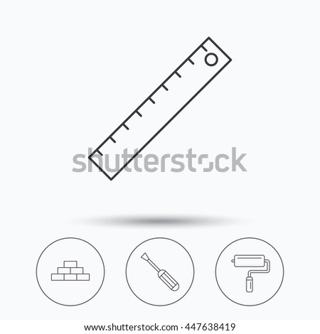 Screwdriver, ruler and paint roller icons. Brickwork linear sign. Linear icons in circle buttons. Flat web symbols. Vector