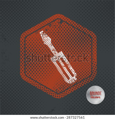 Screwdriver,stamp design on old dark background,grunge concept,vector