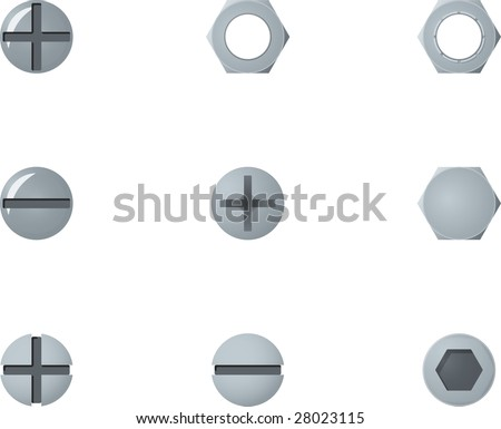 Screws and bolts heads - stock vector