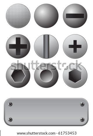 screws and rives with metal plate - stock vector