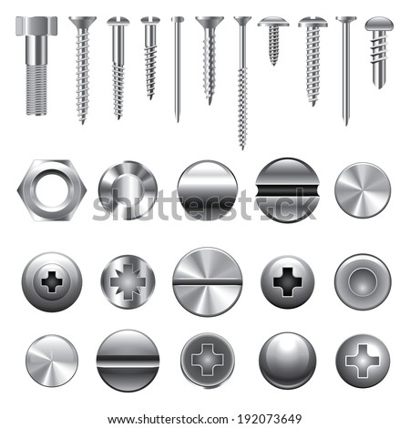 Screws, nuts and rivets icons detailed vector set - stock vector