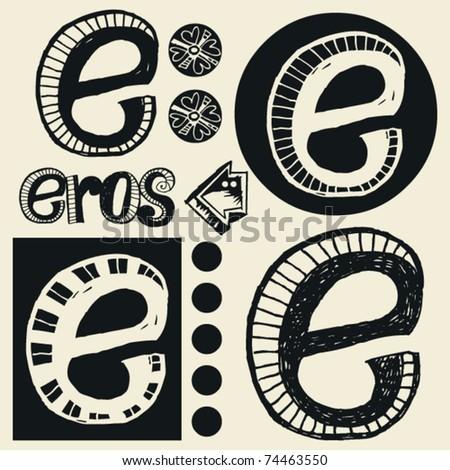 scribble alphabet, crazy doodle E - stock vector