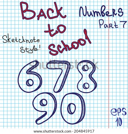 scribble alphabet numbers hand drawing vector letters graph paper back to school