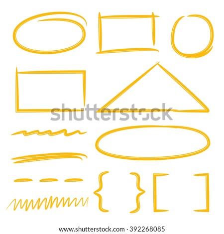 scribble circle, rectangle markers, highlighter, bracket, underlines - stock vector