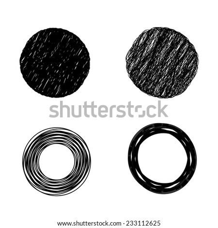 scribble circles isolated on white background - stock vector