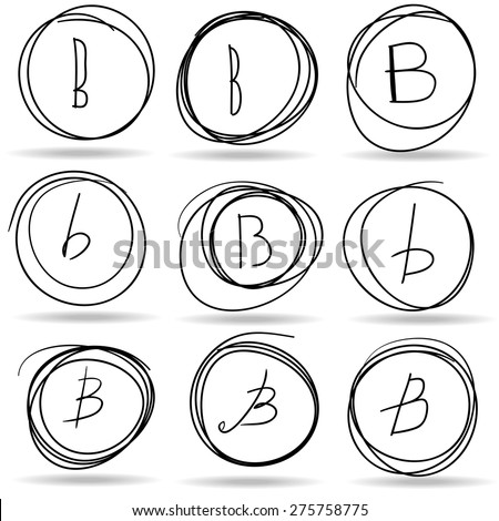 scribble circles or highlights with B letters, vector - stock vector