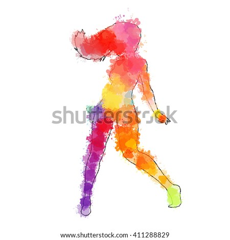 Scribble  dancer contour is filled with colourful splashes and blots. - stock vector