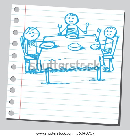 Scribble family eating