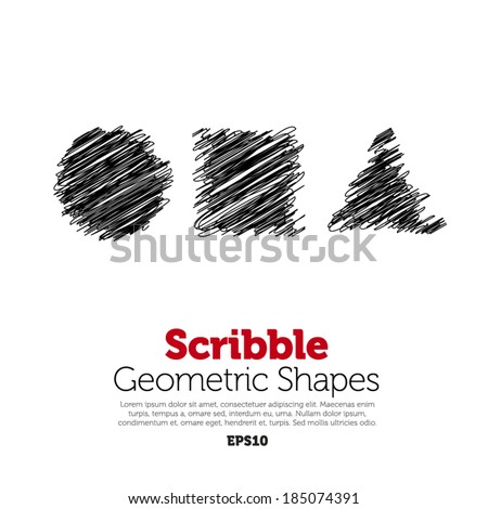 Scribble geometric shapes on white background - stock vector