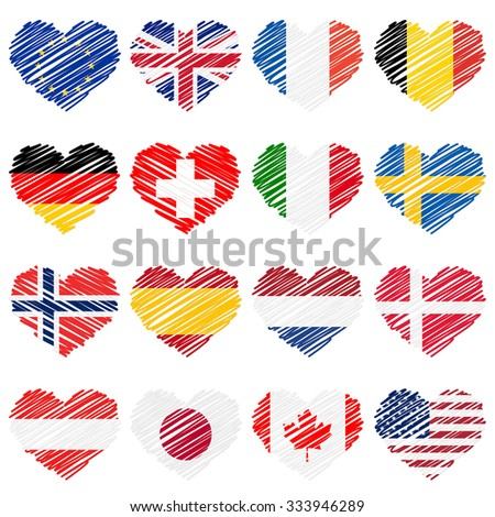 scribble hearts national countries