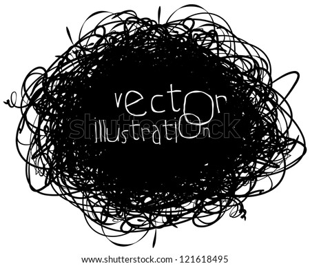 Scribble isolated on white background, vector illustration, black and white, hand-drawn - stock vector