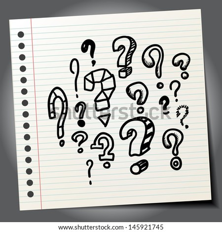 Scribble question marks - stock vector