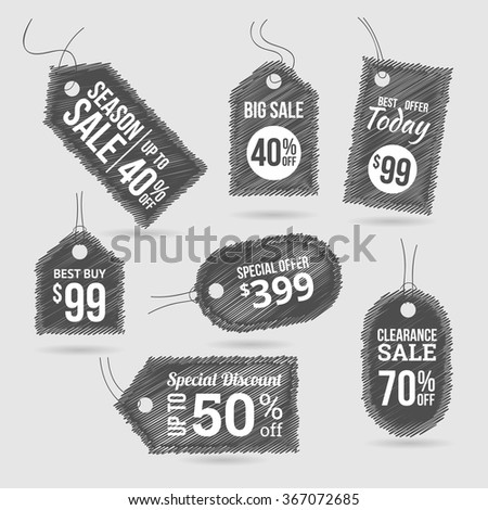 Scribble sale labels shopping  - stock vector