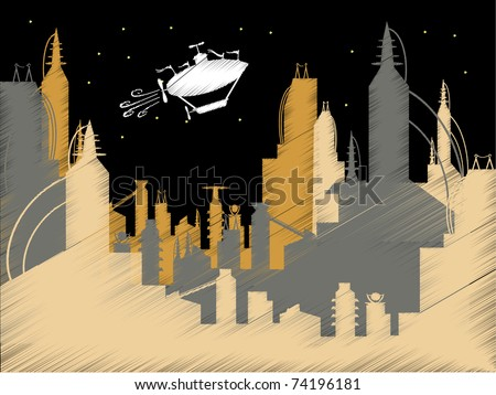 Scribble Science Fiction City Flying Blimp Vector vector illustration - stock vector