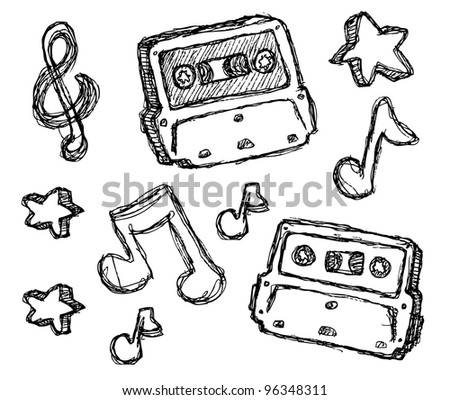 scribble series - cassette - stock vector