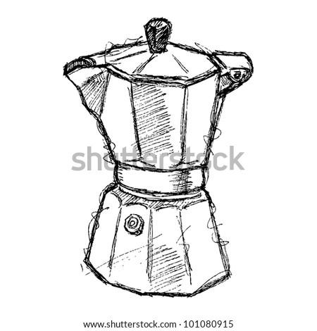 scribble series - coffee maker - stock vector