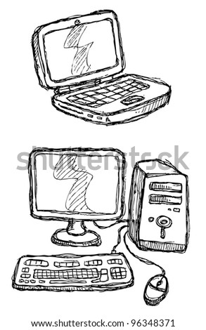 scribble series - computers - stock vector