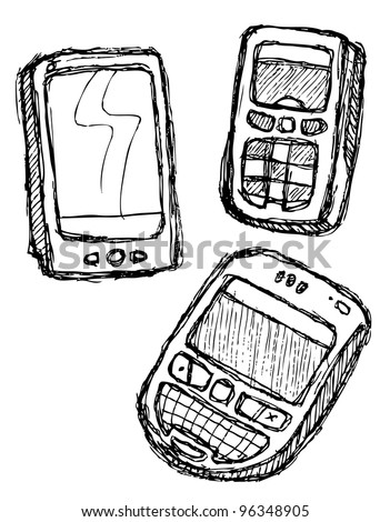 scribble series - mobile phone - stock vector
