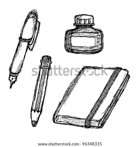 scribble series - stationeries - stock vector